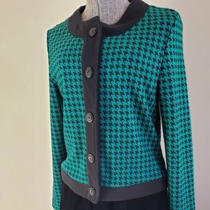 Teal Houndstooth Cardigan